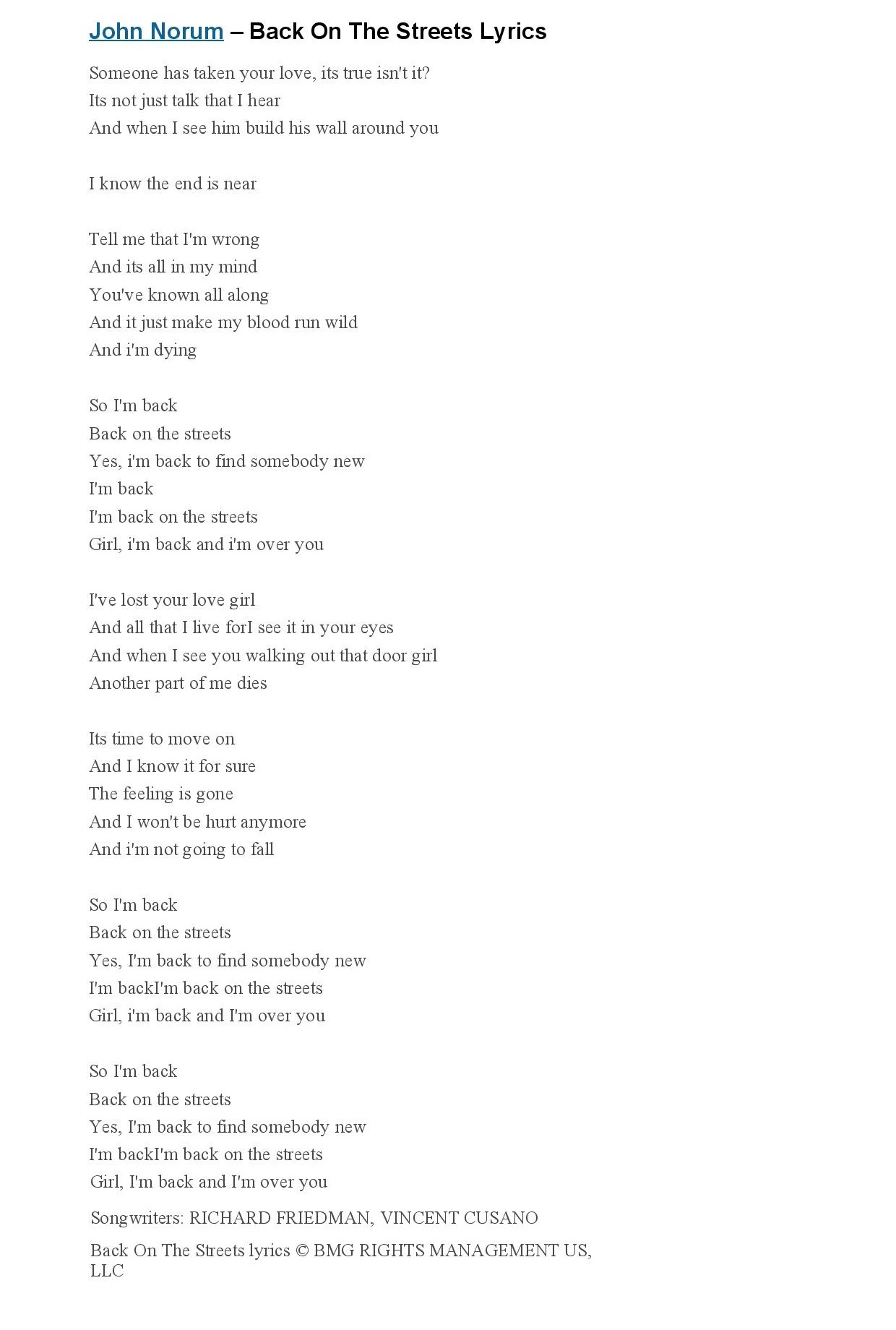 2 Back On The Streets Lyrics - John Norum-page-001.jpg